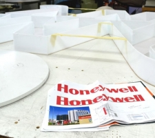 Signage design being fabricated