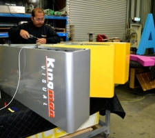 WA Day aluminium letter getting fitted with LED's