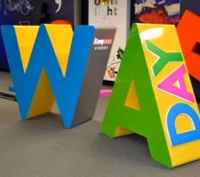 Aluminium WA Day letters in the Kingman showroom