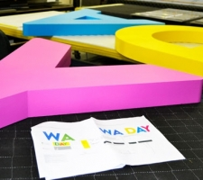 WA Day foam letters getting fitted with base plates