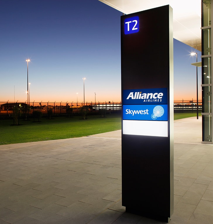 illuminated wayfinding sign pylon perth