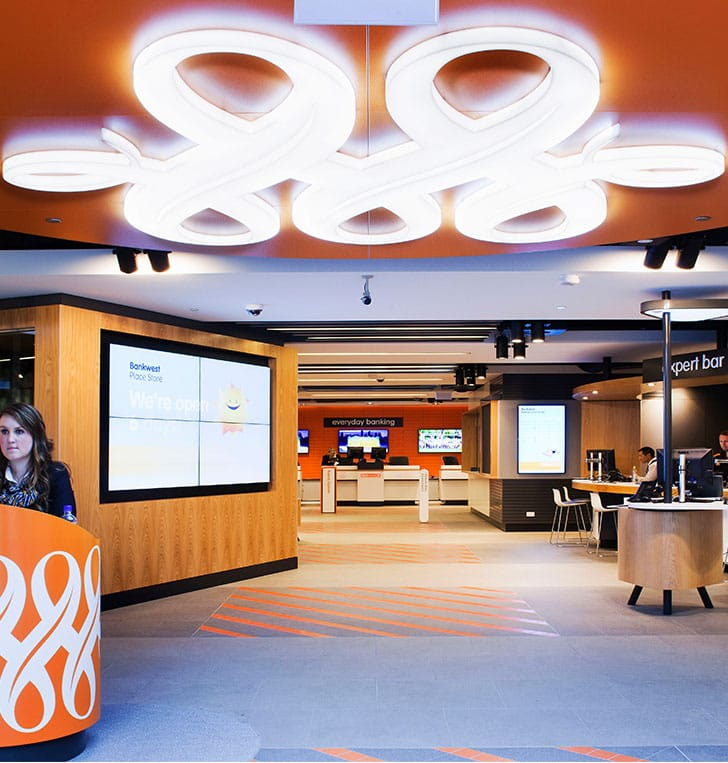 illuminated ceiling logo bankwest perth