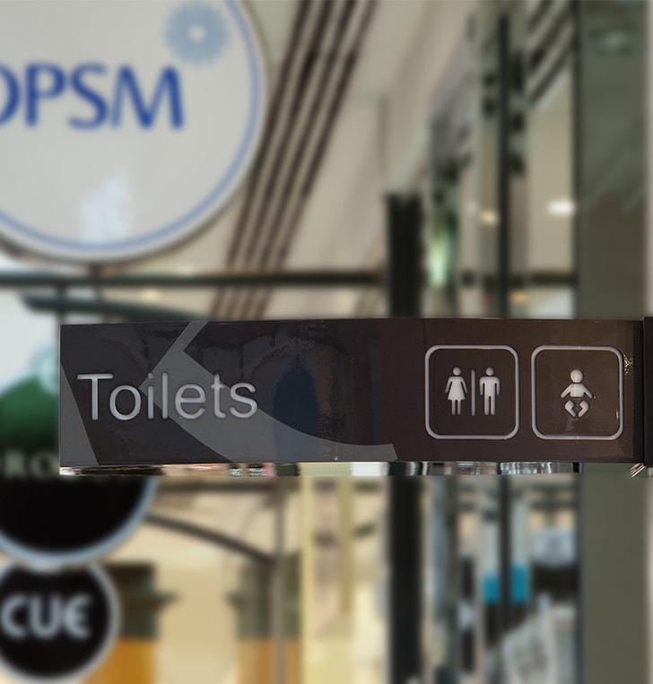 wayfinding toilet signage custom branded