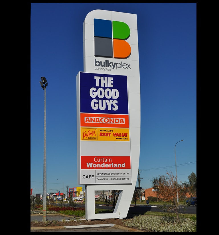 Custom built interesting retail pylon sign