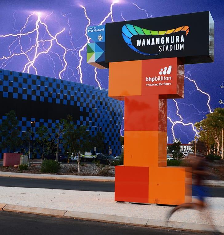 Port Hedland pylon signage Wanangkura Stadium