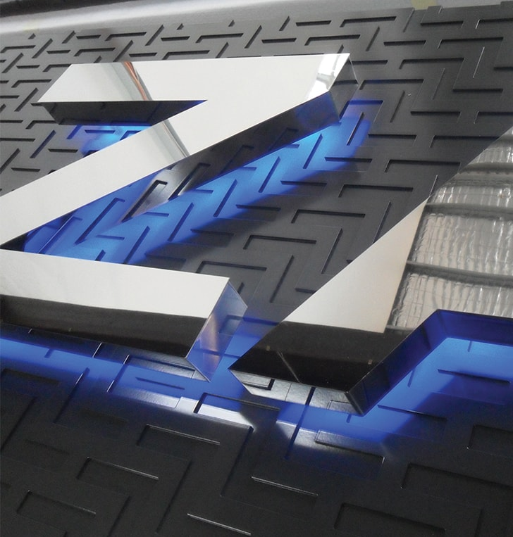 high polish stainless steel letters blue led illumination