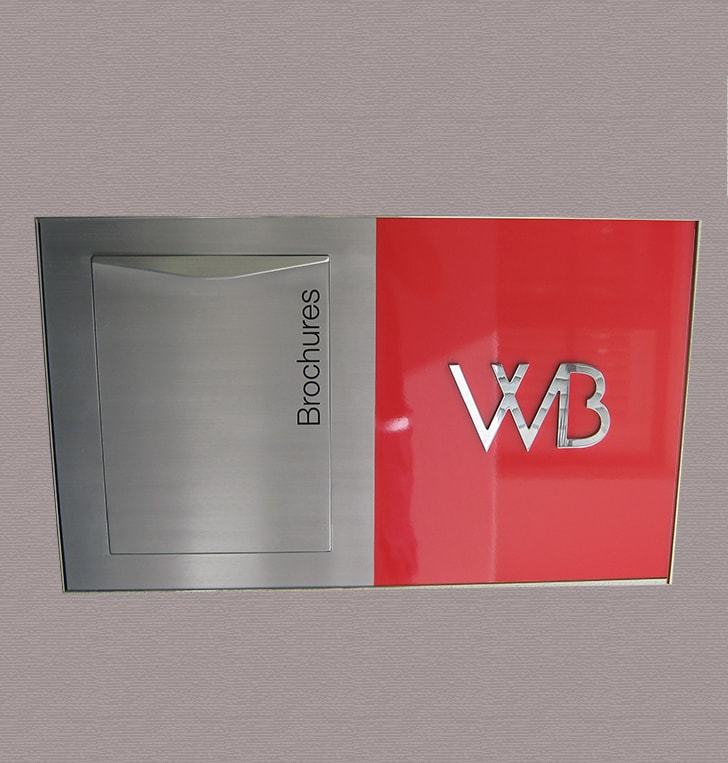 display home brochure holder stainless steel