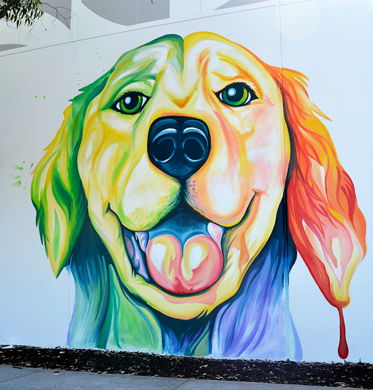 Hand Painted mural dog Perth