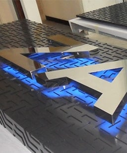 Blue halo signage stainless steel lettering