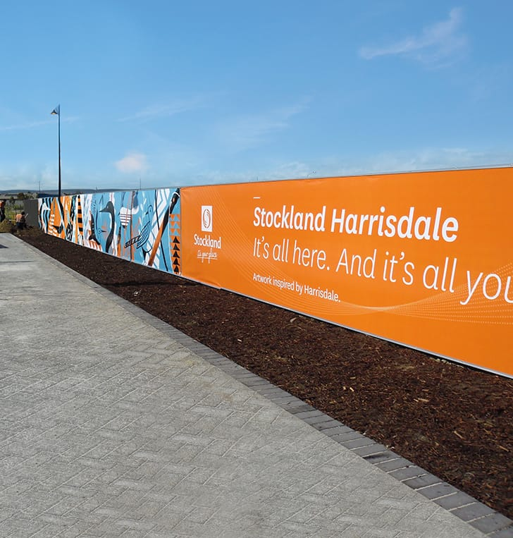fence printed signage building site perth